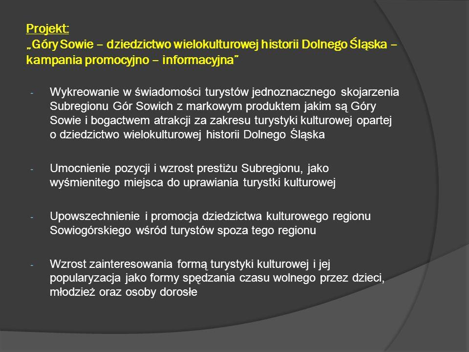 """Projekt: """"Góry Sowie – dziedzictwo wielokulturowej historii Dolnego Śląska – kampania promocyjno – informacyjna - Ożywienie i zróżnicowanie funkcji kulturotwórczej obiektów dziedzictwa kulturowego - Wzrost motywacji do otwierania nowych placówek kulturalnych dla szerszego grona odbiorców z różnych kręgów społecznych - Wzrost zainteresowania także innymi formami turystyki, w tym turystyki aktywnej, dla uprawiania której region stwarza także wyjątkowo dogodne warunki - Wzrost prestiżu i znaczenia Beneficjenta i Partnerów Projektu, jako podmiotów będących inicjatorami i realizatorami skutecznych działań przyczyniających się do promocji markowego produktu Góry Sowie, a tym samym do rozwoju turystyki kulturowej w regionie i zwiększenia napływu turystów"""