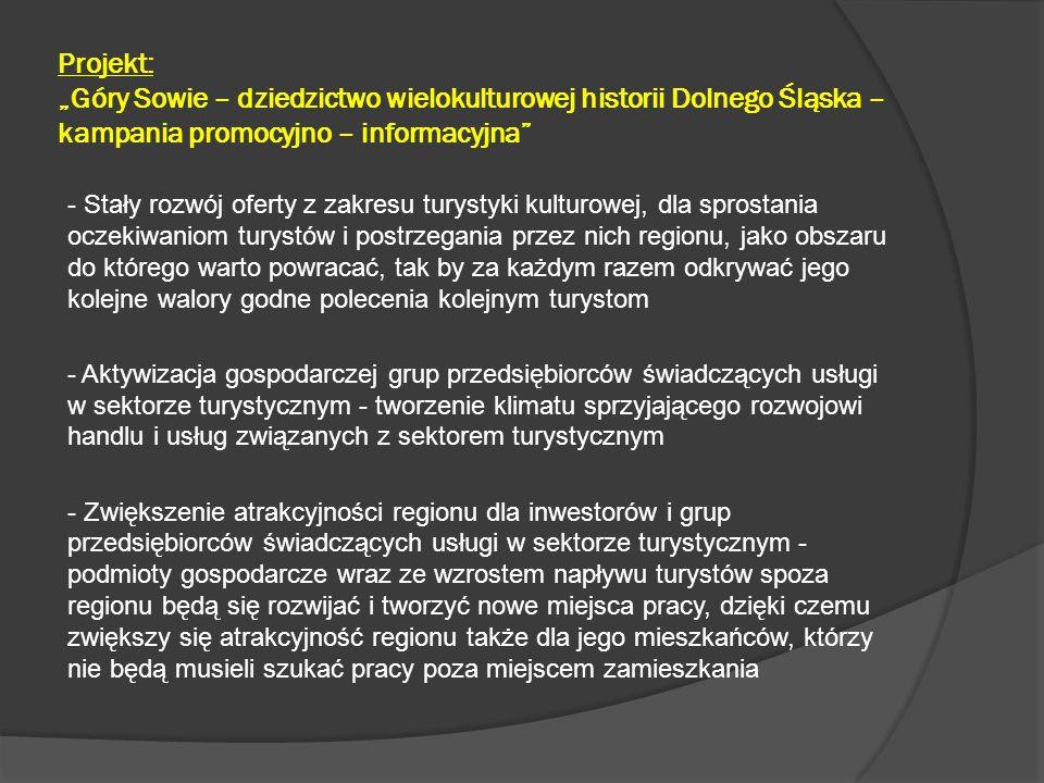 """Projekt: """"Góry Sowie – dziedzictwo wielokulturowej historii Dolnego Śląska – kampania promocyjno – informacyjna - Wzrost dochodów z turystyki w budżetach Gmin będących partnerami Projektu oraz budżetach instytucji kultury i przedsiębiorców prywatnych - Zwiększenie atrakcyjności regionu jako miejsca zamieszkania - Podmioty gospodarcze rozwijając się, będą tworzyć nowe miejsca pracy, dzięki czemu mieszkańcy regionu nie będą musieli szukać pracy poza miejscem zamieszkania."""