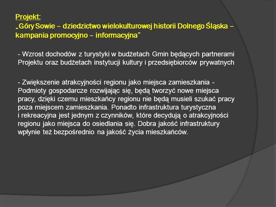 """Projekt: """"Góry Sowie – dziedzictwo wielokulturowej historii Dolnego Śląska – kampania promocyjno – informacyjna - Aktywizacja podmiotów społecznych odpowiedzialnych za organizację i realizację działań promujących Miasto i Region, - Pozyskanie środków finansowych, odpowiednich do podjęcia i przeprowadzenia koniecznych działań promocyjnych na skalę, która w dłuższej perspektywie przyniesie oczekiwane efekty w postaci zwiększonego zainteresowania naszym Regionem turystów z pozostałych części kraju oraz zagranicznych."""