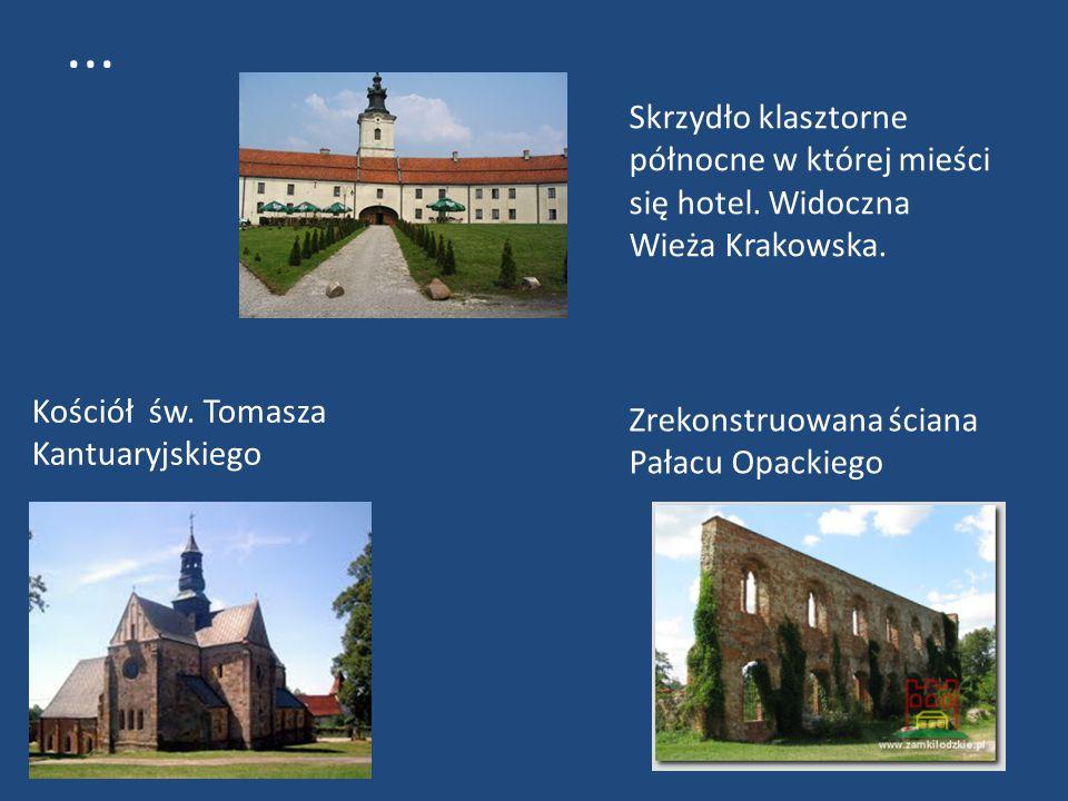 Kościół św. Tomasza Kantuaryjskiego Zrekonstruowana ściana Pałacu Opackiego Skrzydło klasztorne północne w której mieści się hotel. Widoczna Wieża Kra