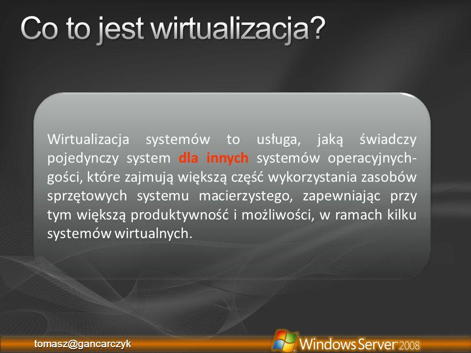 tomasz@gancarczyktomasz@gancarczyk Zamrożenie maszyny wirtualnej w czasie Nie wpływa na stan działającej wirtualnej maszyny Pliki Snapshot:.xml (.exp) – konfiguracja maszyny Pliki Save state Differencing disk (.avhd)