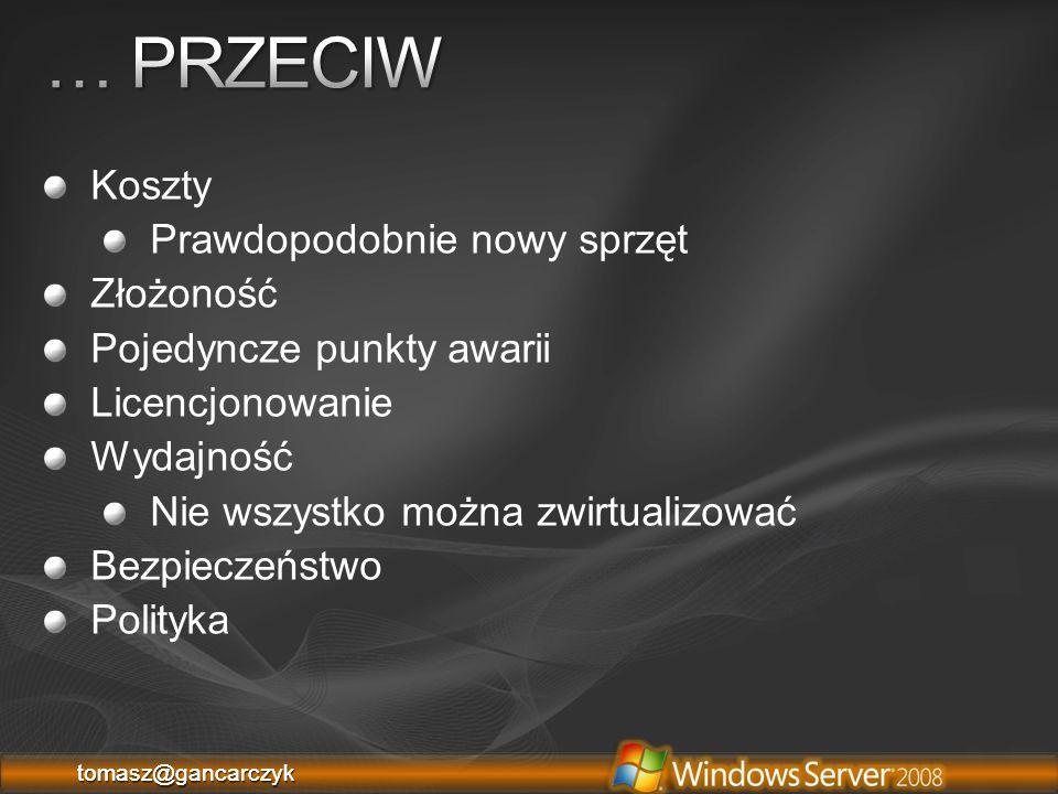 """tomasz@gancarczyktomasz@gancarczyk 1.System Center Virtual Machine Manager 2.Stworzony dla Windows Server 2008 x64 3.Wsparcie dla Virtual Server, VMware 4.Łatwe zarządzanie fizycznymi zasobami 5.Maksymalizacja zasobów 6.Proste konwertowanie maszyn 7.Szybki """"tworzenie nowych maszyn 8.Delegacja uprawnień do maszyn 9.Scentralizowana biblioteka 10.Integracja Windows PowerShell 11.Niewielkie wymagania systemowe 1.System Center Virtual Machine Manager 2.Stworzony dla Windows Server 2008 x64 3.Wsparcie dla Virtual Server, VMware 4.Łatwe zarządzanie fizycznymi zasobami 5.Maksymalizacja zasobów 6.Proste konwertowanie maszyn 7.Szybki """"tworzenie nowych maszyn 8.Delegacja uprawnień do maszyn 9.Scentralizowana biblioteka 10.Integracja Windows PowerShell 11.Niewielkie wymagania systemowe"""