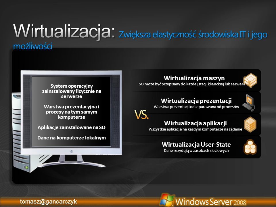 tomasz@gancarczyktomasz@gancarczyk Wspiera maksymalnie 4 procesory i 64GB RAM na pojedynczą VM Wspiera do 1 TB RAM na maszynie hostującej Data Execution Prevention (DEP) – enabled Nie wspiera procesorów Itanium (IA-64) x64 – Intel VT http://www.microsoft.com/servers/hyper-v-server/system-requirements.mspx