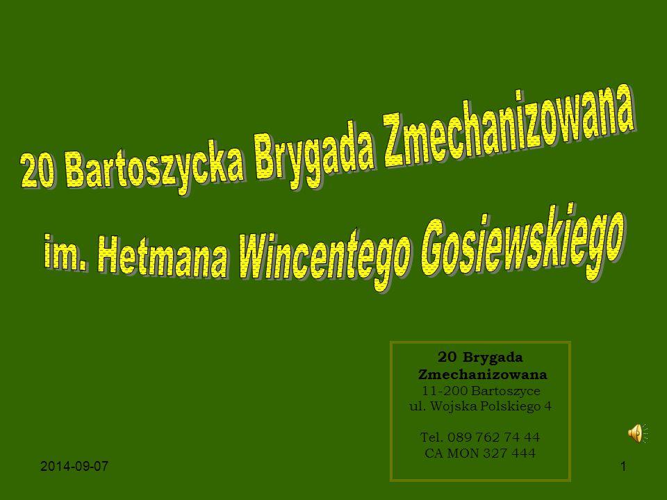 2 RYS HISTORYCZNY 20 BZ powstała w roku 1994 na bazie rozformowanego 75 Ośrodka Materiałowo-Technicznego, po rozformowanej jednostce brygada przejęła koszary w garnizonie Bartoszyce.