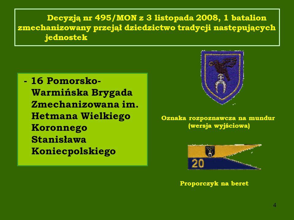 5 Decyzją nr 415/MON z 27 grudnia 2005 zatwierdzono wzór odznaki pamiątkowej, oznaki rozpoznawczej oraz proporczyka brygady.