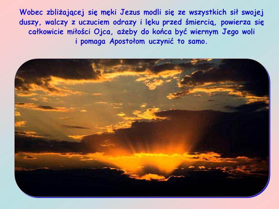 Wobec zbliżającej się męki Jezus modli się ze wszystkich sił swojej duszy, walczy z uczuciem odrazy i lęku przed śmiercią, powierza się całkowicie miłości Ojca, ażeby do końca być wiernym Jego woli i pomaga Apostołom uczynić to samo.