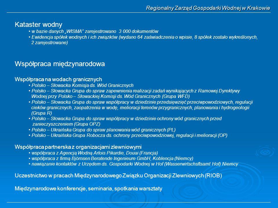 """Regionalny Zarząd Gospodarki Wodnej w Krakowie Kataster wodny w bazie danych """"WISMA"""" zarejestrowano 3 000 dokumentów Ewidencja spółek wodnych i ich zw"""