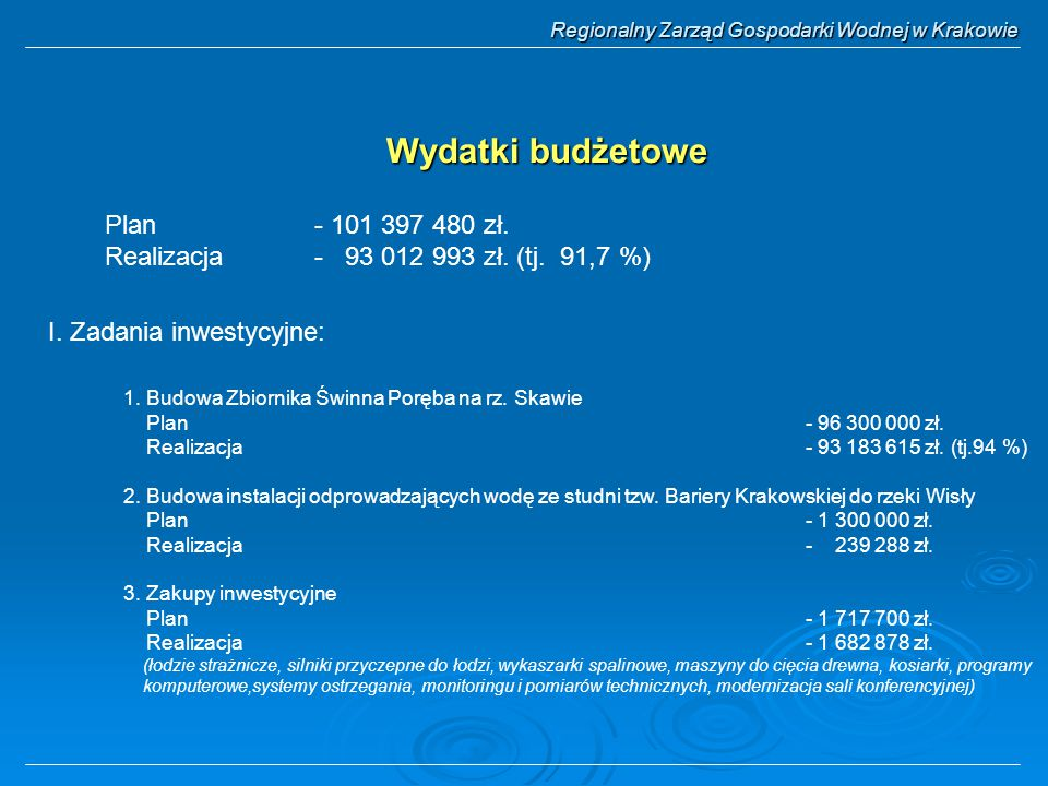 Wydatki budżetowe Plan - 101 397 480 zł. Realizacja - 93 012 993 zł. (tj. 91,7 %) 1. Budowa Zbiornika Świnna Poręba na rz. Skawie Plan- 96 300 000 zł.
