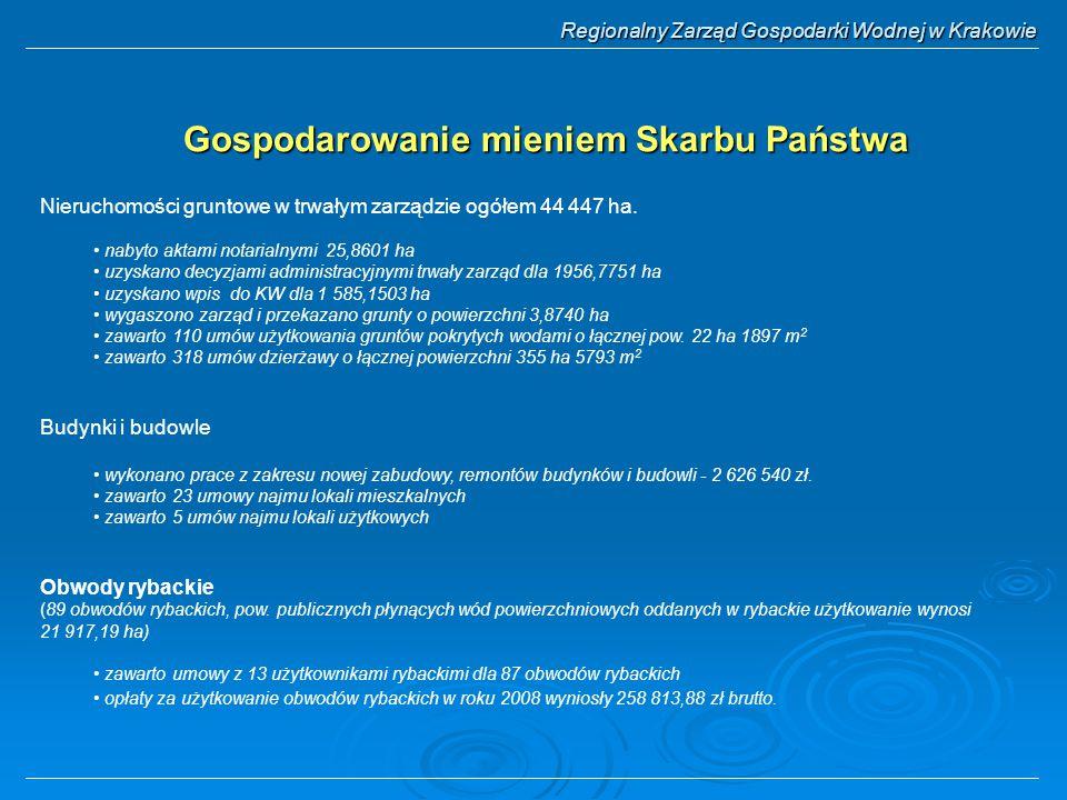 Regionalny Zarząd Gospodarki Wodnej w Krakowie Gospodarowanie mieniem Skarbu Państwa Nieruchomości gruntowe w trwałym zarządzie ogółem 44 447 ha.
