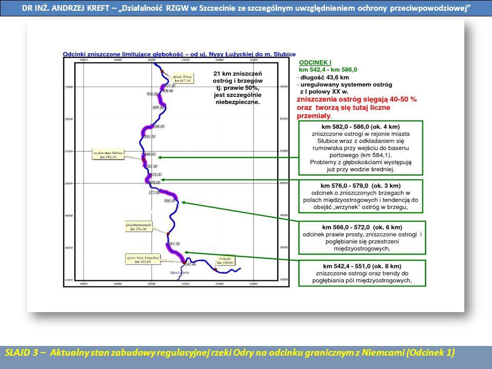 SLAJD 4 – Aktualny stan zabudowy regulacyjnej rzeki Odry na odcinku granicznym z Niemcami (Odcinek 2) DR INŻ.