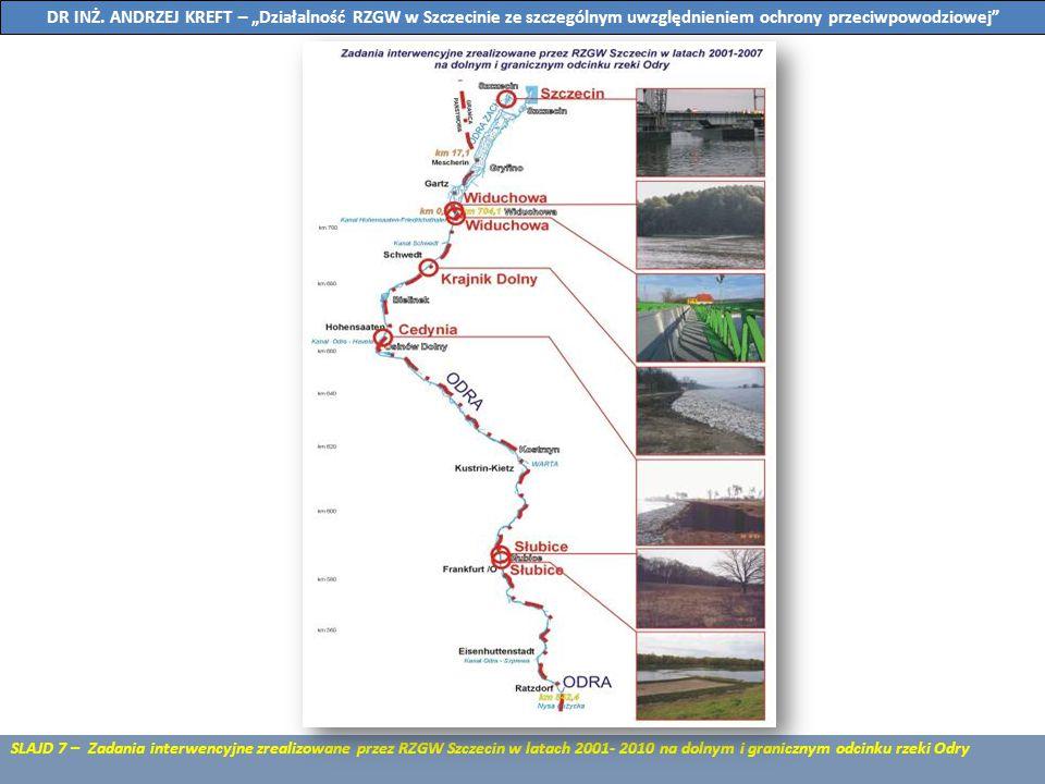 SLAJD 7 – Zadania interwencyjne zrealizowane przez RZGW Szczecin w latach 2001- 2010 na dolnym i granicznym odcinku rzeki Odry DR INŻ. ANDRZEJ KREFT –