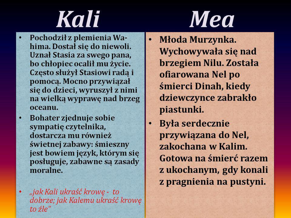 Kali Pochodził z plemienia Wa- hima. Dostał się do niewoli. Uznał Stasia za swego pana, bo chłopiec ocalił mu życie. Często służył Stasiowi radą i pom