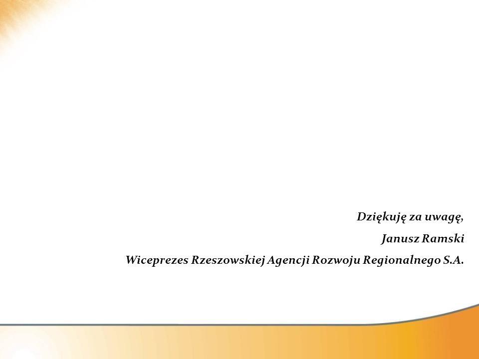 Dziękuję za uwagę, Janusz Ramski Wiceprezes Rzeszowskiej Agencji Rozwoju Regionalnego S.A.