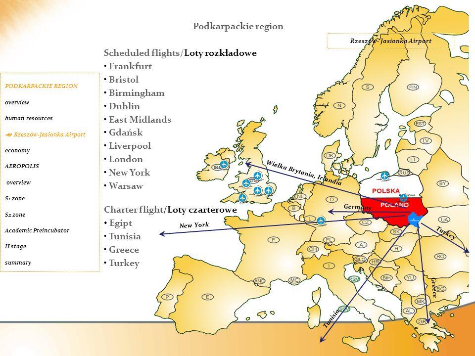 Scheduled flights/Loty rozkładowe Frankfurt Bristol Birmingham Dublin East Midlands Gdańsk Liverpool London New York Warsaw Charter flight/Loty czarte