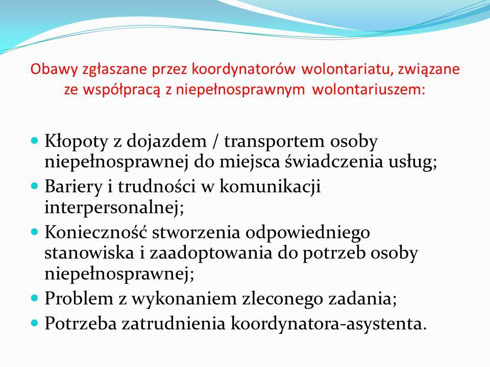 Obawy zgłaszane przez koordynatorów wolontariatu, związane ze współpracą z niepełnosprawnym wolontariuszem: Kłopoty z dojazdem / transportem osoby niepełnosprawnej do miejsca świadczenia usług; Bariery i trudności w komunikacji interpersonalnej; Konieczność stworzenia odpowiedniego stanowiska i zaadoptowania do potrzeb osoby niepełnosprawnej; Problem z wykonaniem zleconego zadania; Potrzeba zatrudnienia koordynatora-asystenta.