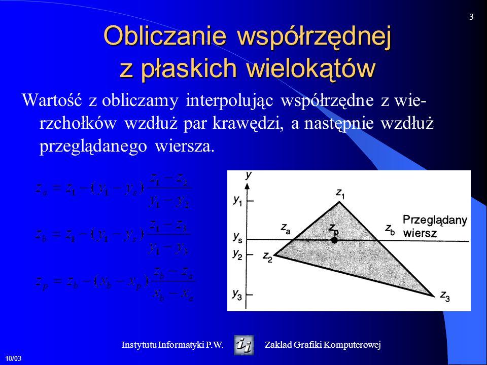 10/03 4 Instytutu Informatyki P.W.Zakład Grafiki Komputerowej Przykład Obliczyć wartości z-bufora podczas rysowania kolejno trójkątów A i B A (1,5,5), (1,1,5), (5,5,5) B (1,5,4), (1,1,8), (5,1,4)  z 12 = 4-8= -4  y 12 = 5-1= 4  z 13 = 4-4 = 0  y 13 = 5-1 = 4