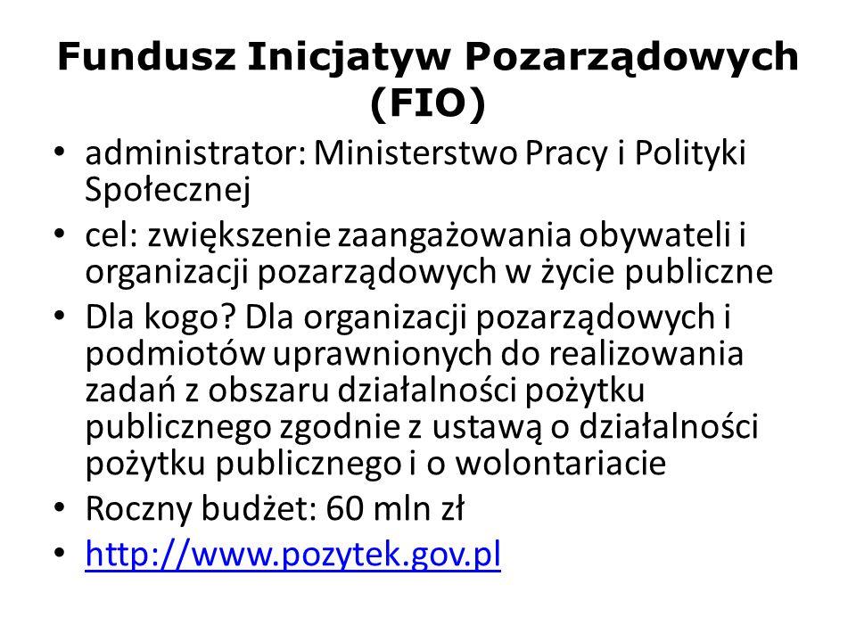 Fundusz Inicjatyw Pozarządowych (FIO) administrator: Ministerstwo Pracy i Polityki Społecznej cel: zwiększenie zaangażowania obywateli i organizacji p