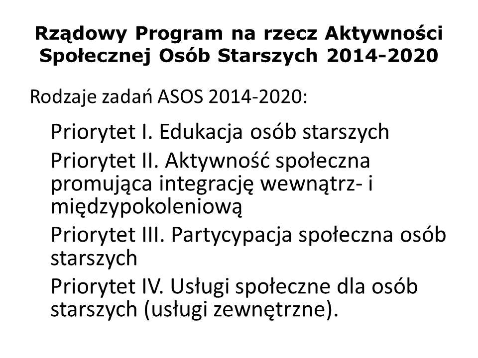 Rządowy Program na rzecz Aktywności Społecznej Osób Starszych 2014-2020 Rodzaje zadań ASOS 2014-2020: Priorytet I. Edukacja osób starszych Priorytet I