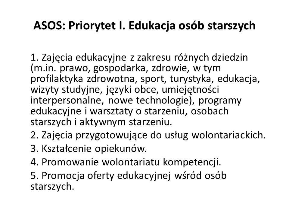 ASOS: Priorytet I. Edukacja osób starszych 1. Zajęcia edukacyjne z zakresu różnych dziedzin (m.in. prawo, gospodarka, zdrowie, w tym profilaktyka zdro