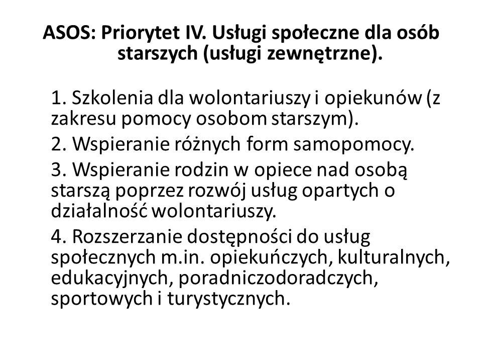 ASOS: Priorytet IV. Usługi społeczne dla osób starszych (usługi zewnętrzne). 1. Szkolenia dla wolontariuszy i opiekunów (z zakresu pomocy osobom stars