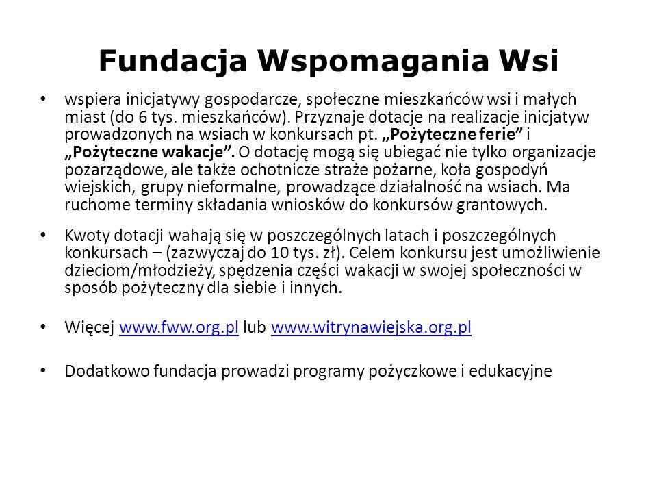Fundacja Wspomagania Wsi wspiera inicjatywy gospodarcze, społeczne mieszkańców wsi i małych miast (do 6 tys. mieszkańców). Przyznaje dotacje na realiz