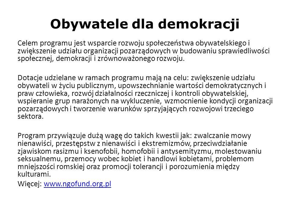 Obywatele dla demokracji Celem programu jest wsparcie rozwoju społeczeństwa obywatelskiego i zwiększenie udziału organizacji pozarządowych w budowaniu