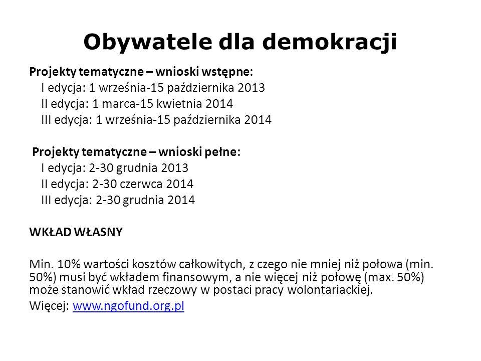 Obywatele dla demokracji Projekty tematyczne – wnioski wstępne: I edycja: 1 września-15 października 2013 II edycja: 1 marca-15 kwietnia 2014 III edyc