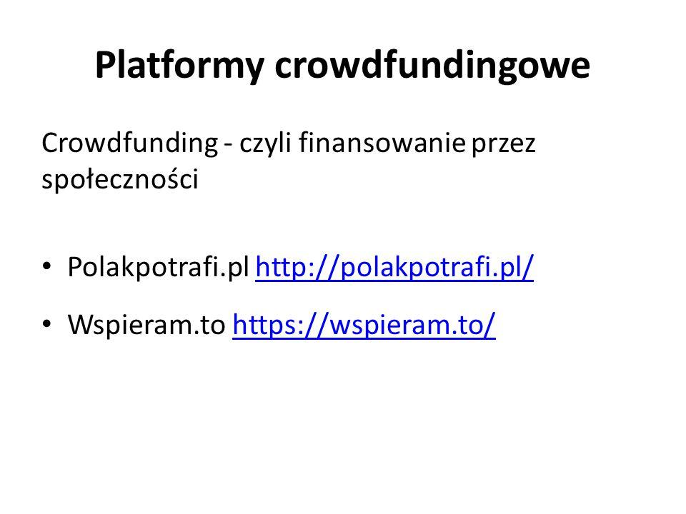 Platformy crowdfundingowe Crowdfunding - czyli finansowanie przez społeczności Polakpotrafi.pl http://polakpotrafi.pl/http://polakpotrafi.pl/ Wspieram