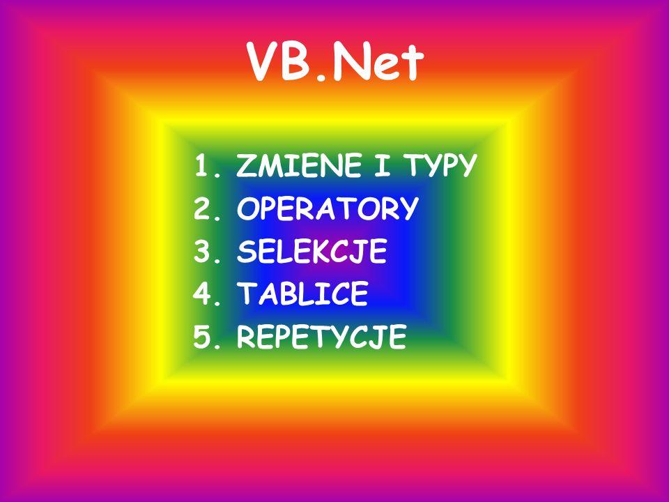 VB.Net 1. ZMIENE I TYPY 2. OPERATORY 3. SELEKCJE 4. TABLICE 5. REPETYCJE