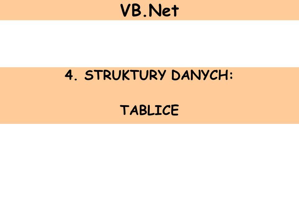 4. STRUKTURY DANYCH: TABLICE VB.Net