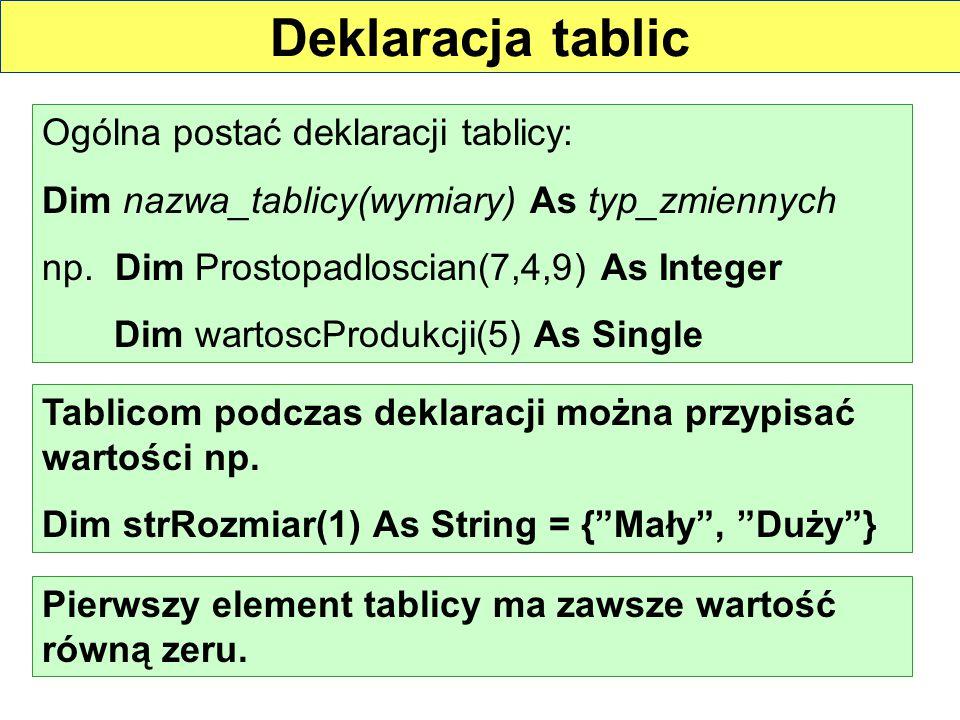Deklaracja tablic Ogólna postać deklaracji tablicy: Dim nazwa_tablicy(wymiary) As typ_zmiennych np. Dim Prostopadloscian(7,4,9) As Integer Dim wartosc