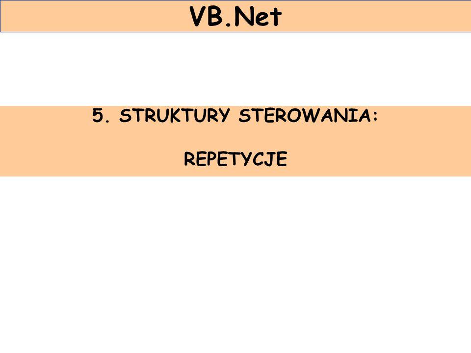5. STRUKTURY STEROWANIA: REPETYCJE VB.Net