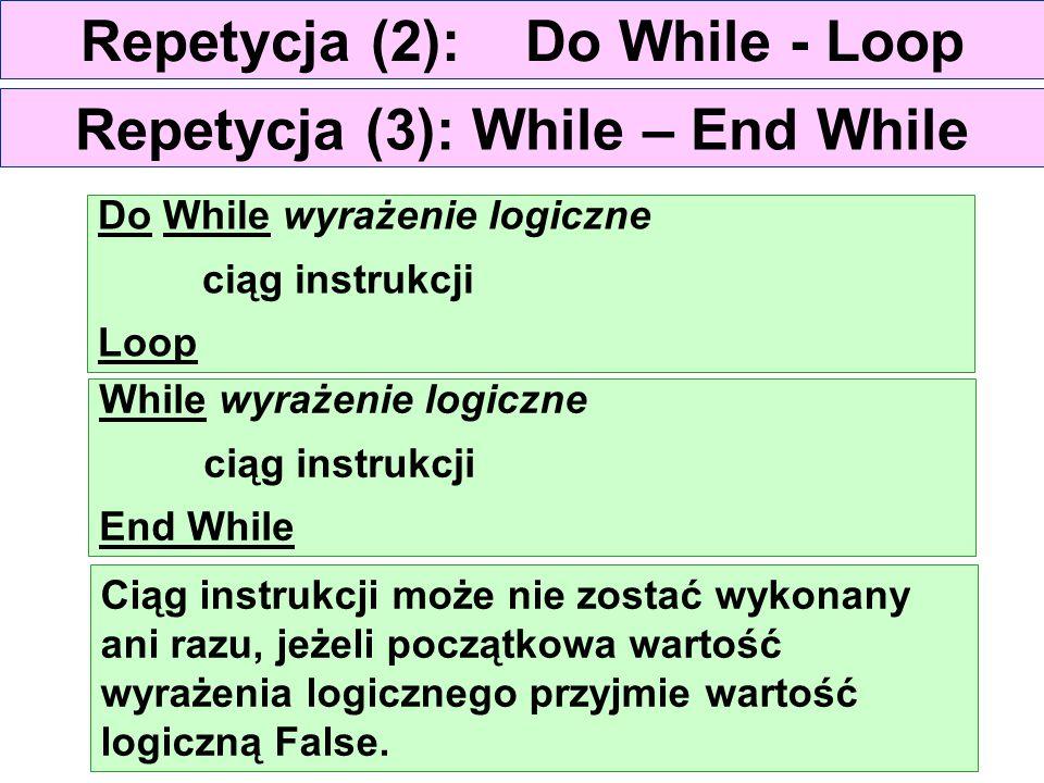 Repetycja (2): Do While - Loop Do While wyrażenie logiczne ciąg instrukcji Loop Ciąg instrukcji może nie zostać wykonany ani razu, jeżeli początkowa w