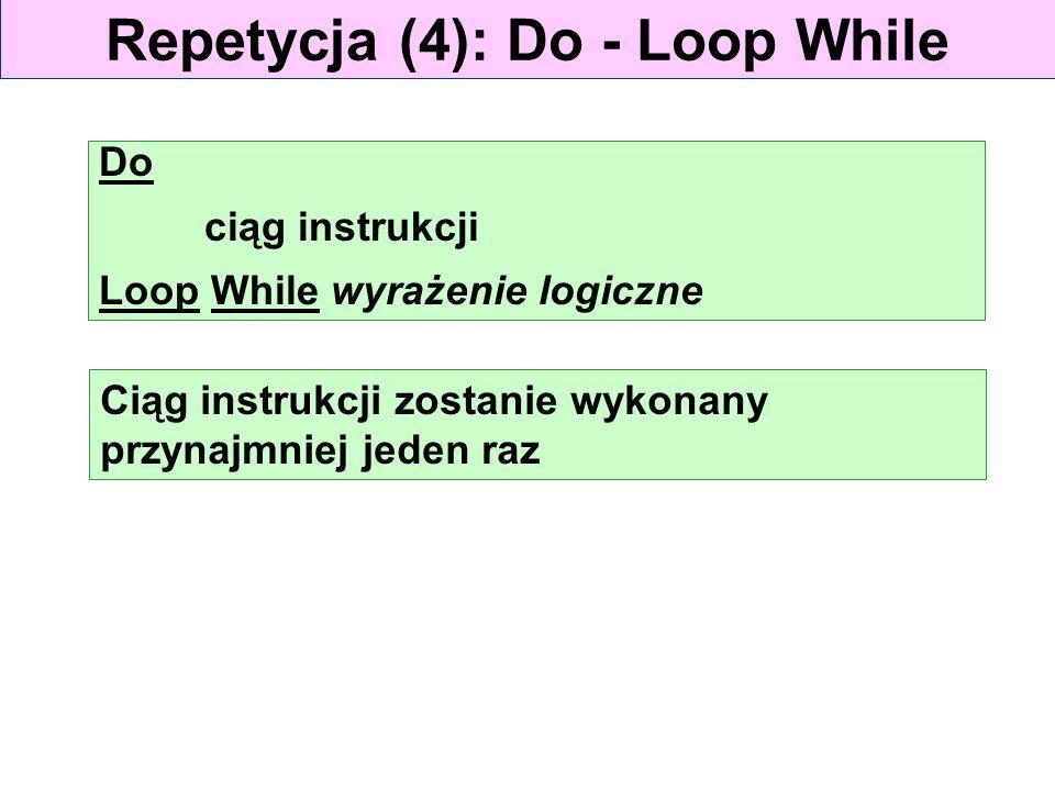 Repetycja (4): Do - Loop While Do ciąg instrukcji Loop While wyrażenie logiczne Ciąg instrukcji zostanie wykonany przynajmniej jeden raz