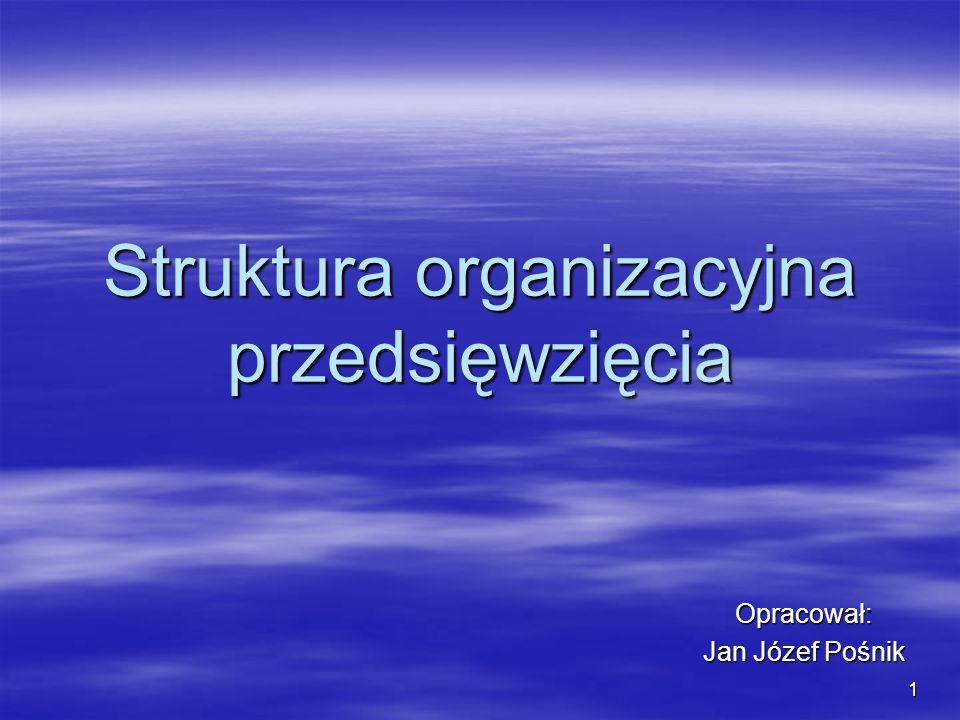 1 Struktura organizacyjna przedsięwzięcia Opracował: Jan Józef Pośnik