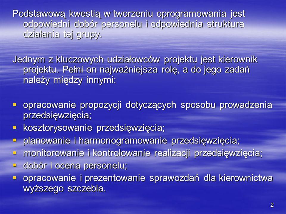 2 Podstawową kwestią w tworzeniu oprogramowania jest odpowiedni dobór personelu i odpowiednia struktura działania tej grupy.