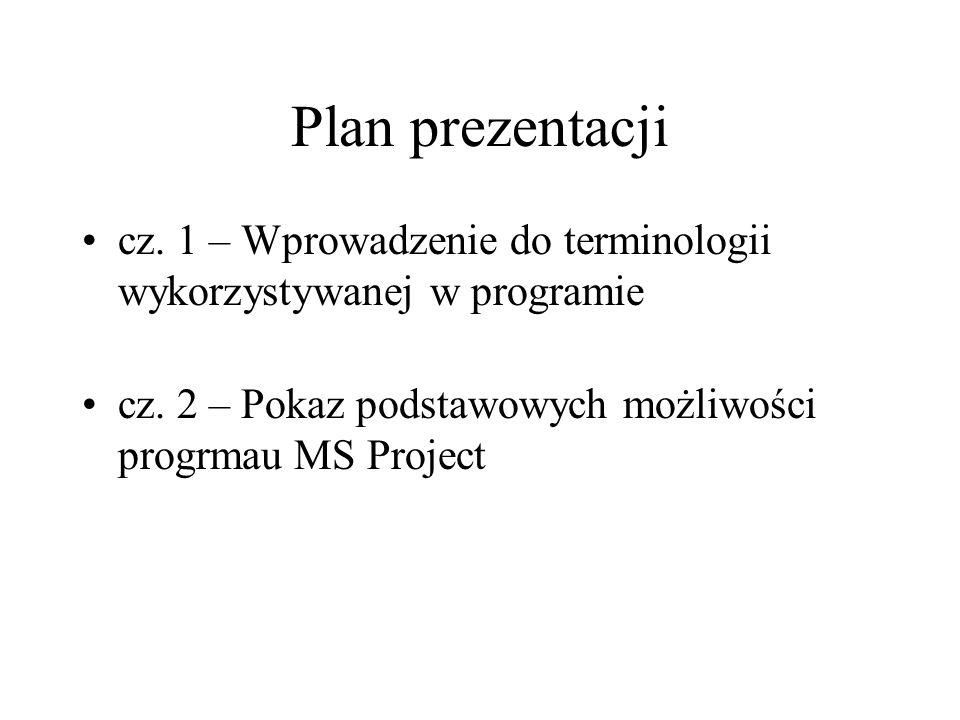Plan prezentacji cz. 1 – Wprowadzenie do terminologii wykorzystywanej w programie cz. 2 – Pokaz podstawowych możliwości progrmau MS Project