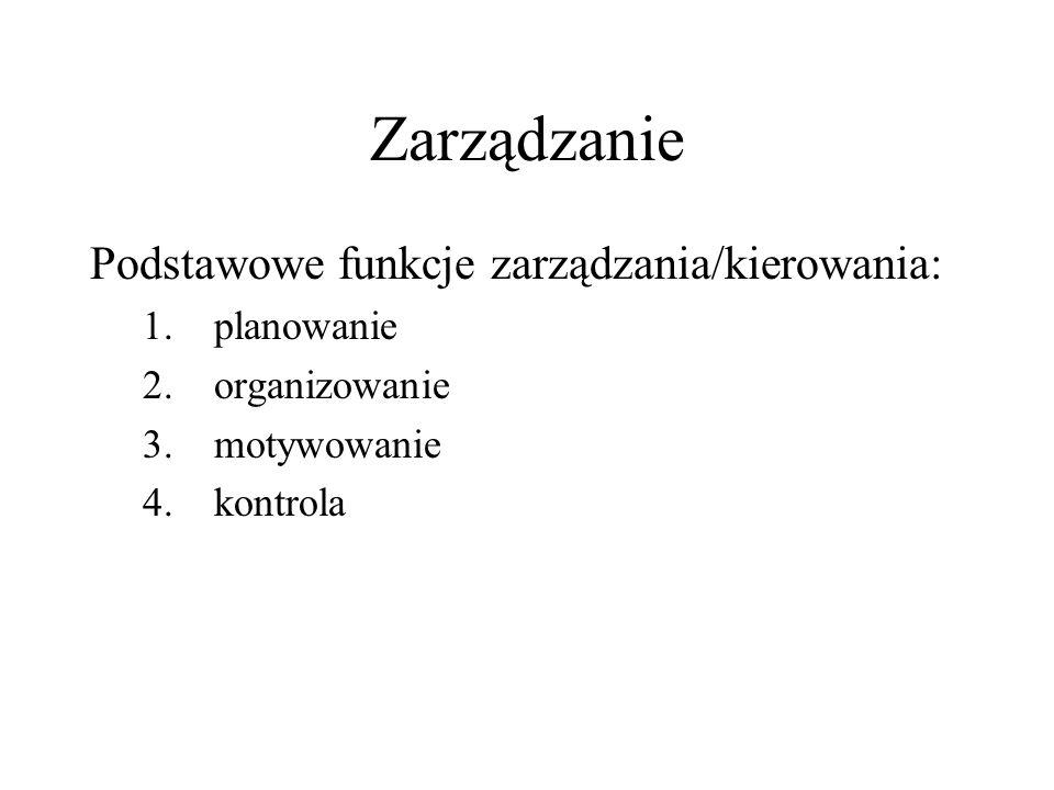 Zarządzanie Podstawowe funkcje zarządzania/kierowania: 1. planowanie 2. organizowanie 3. motywowanie 4. kontrola