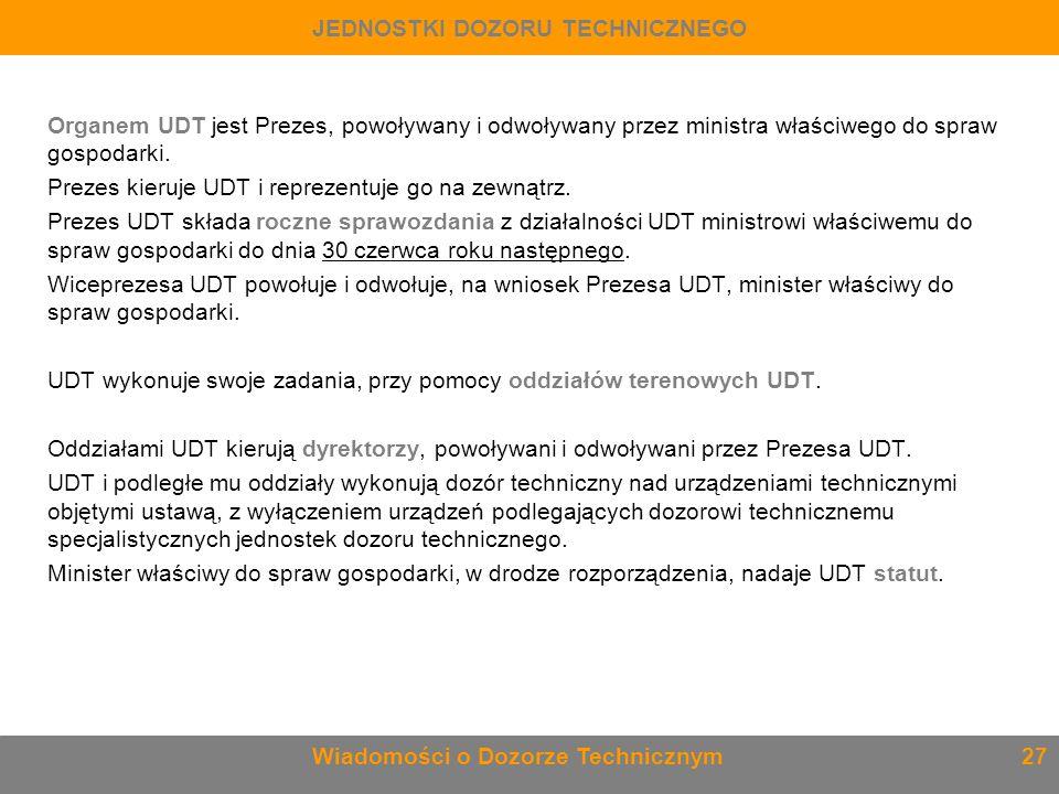 Organem UDT jest Prezes, powoływany i odwoływany przez ministra właściwego do spraw gospodarki. Prezes kieruje UDT i reprezentuje go na zewnątrz. Prez