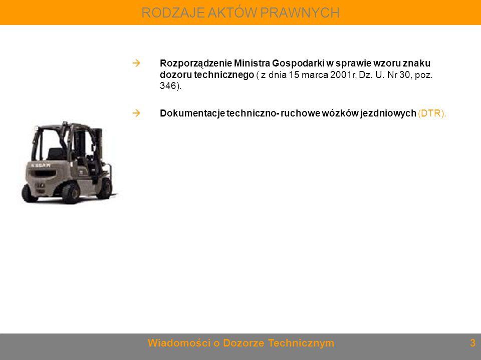RODZAJE AKTÓW PRAWNYCH Wiadomości o Dozorze Technicznym 3  Rozporządzenie Ministra Gospodarki w sprawie wzoru znaku dozoru technicznego ( z dnia 15 m