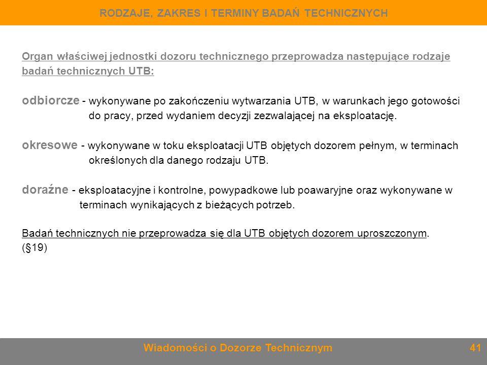 Organ właściwej jednostki dozoru technicznego przeprowadza następujące rodzaje badań technicznych UTB: odbiorcze - wykonywane po zakończeniu wytwarzan