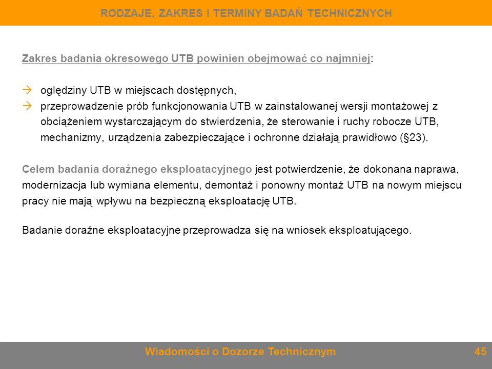 Zakres badania okresowego UTB powinien obejmować co najmniej:  oględziny UTB w miejscach dostępnych,  przeprowadzenie prób funkcjonowania UTB w zain