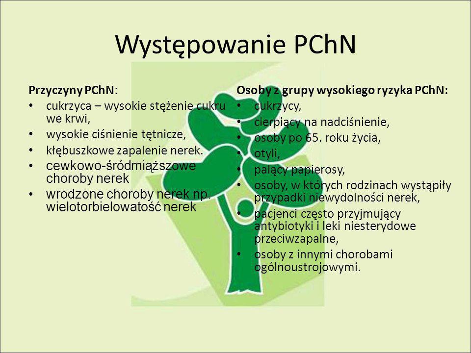 Występowanie PChN Przyczyny PChN: cukrzyca – wysokie stężenie cukru we krwi, wysokie ciśnienie tętnicze, kłębuszkowe zapalenie nerek.