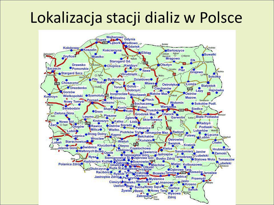 Lokalizacja stacji dializ w Polsce