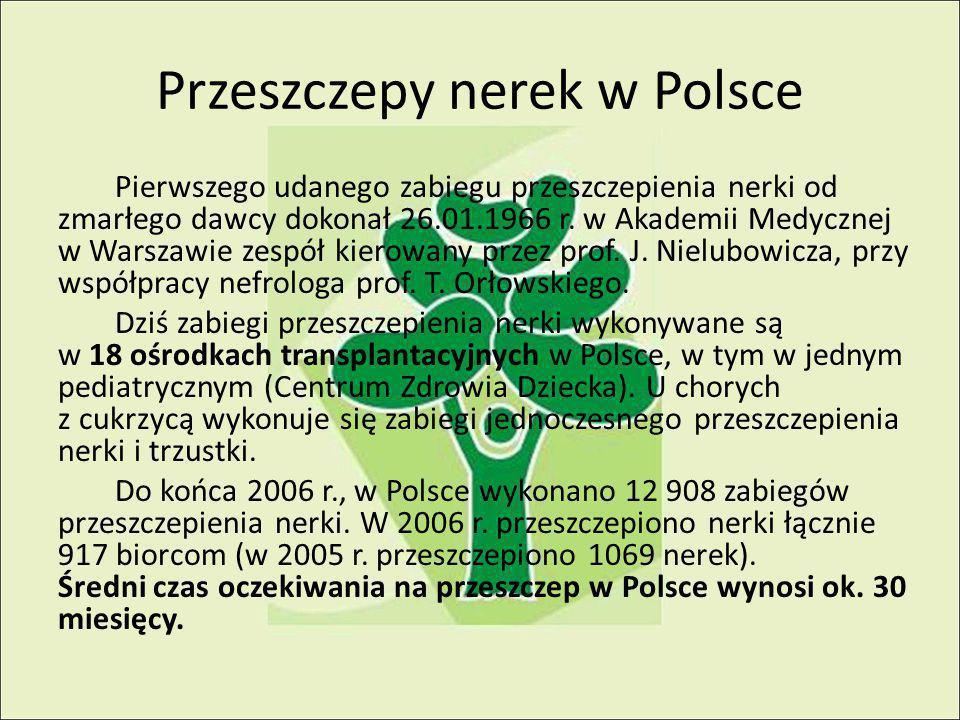 Przeszczepy nerek w Polsce Pierwszego udanego zabiegu przeszczepienia nerki od zmarłego dawcy dokonał 26.01.1966 r.