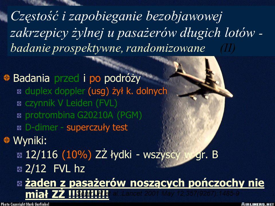 Częstość i zapobieganie bezobjawowej zakrzepicy żylnej u pasażerów długich lotów - badanie prospektywne, randomizowane (II) Badania przed i po podróży duplex doppler (usg) żył k.