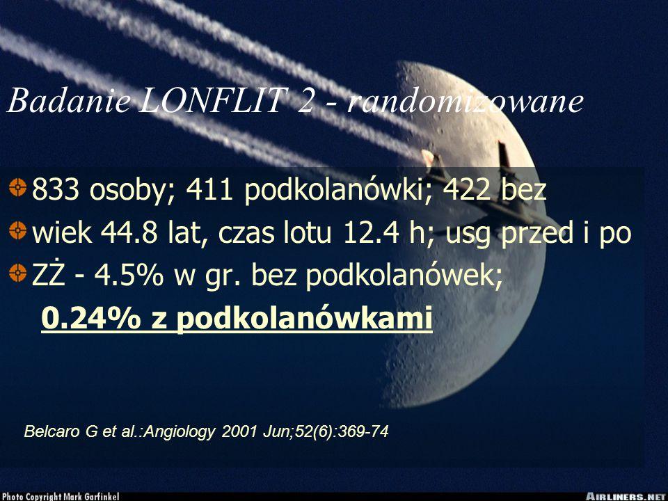 Badanie LONFLIT 2 - randomizowane 833 osoby; 411 podkolanówki; 422 bez wiek 44.8 lat, czas lotu 12.4 h; usg przed i po ZŻ - 4.5% w gr.