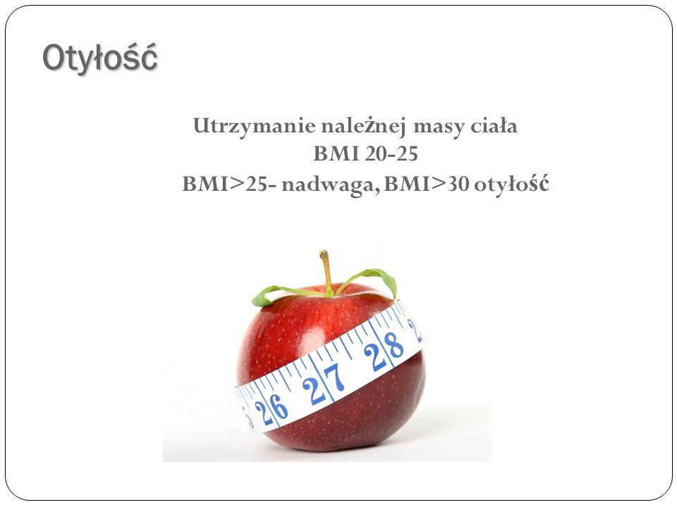 Otyłość Utrzymanie nale ż nej masy ciała BMI 20-25 BMI>25- nadwaga, BMI>30 otyło ść