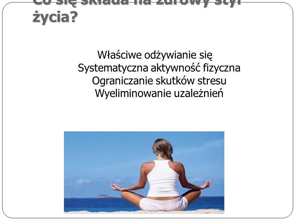 Co się składa na zdrowy styl życia? Właściwe odżywianie się Systematyczna aktywność fizyczna Ograniczanie skutków stresu Wyeliminowanie uzależnień