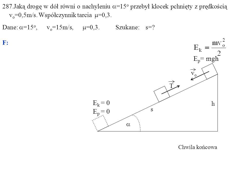 287.Jaką drogę w dół równi o nachyleniu  =15 o przebył klocek pchnięty z prędkością v o =0,5m/s.